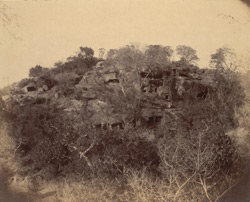 General view of Udayagiri from the south-west, showing Jain cave temples cut into hillside 1003392a
